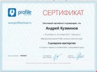 Сертификат - Сценарное мастерство