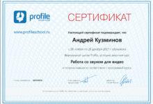 Сертификат - Работа со звуком и видео