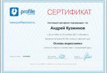 Сертификат- Основы видеосъемки